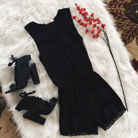 V Neck Lace Trim Romper (Black)