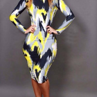 Multi Color Abstract Print Long Sleeve Bodycon Dress