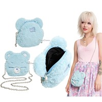 Licensed cool Loungefly Care Bears Purse Grumpy Bear Face Plush Crossbody Bag Tote Handbag NEW