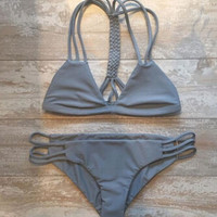 Women Gray Bandage Bikini Set Swimsuit Beach Bathing Suits +Random Necklace