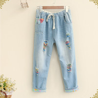 Color to do the old hole Drawstring Ankle-Length  pants  jeans casual  mori girl 2016 summer