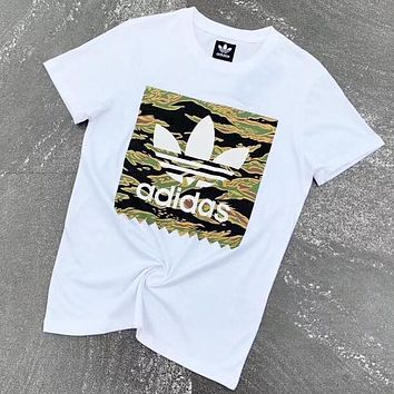 Adidas New fashion letter leaf camouflage print couple top t-shirt White