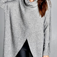 Heather Grey Cowl Turtleneck Tunic Top