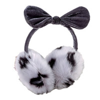 Mixed Color Faux Fur Ear Muff with Bowtie Top