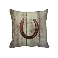 Country Western Lucky Horseshoe Rustic Wood Pillow from Zazzle.com