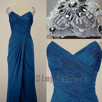 Real Sheath Cap sleeve Floor-length Chiffon Beading Blue Long Prom/Evening/Party/Homecoming/Bridesmaid/Formal Dress 2013 New Arrival