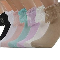7 Pairs Lace Ruffle Frilly Ankle Women Socks One Size WWZ09