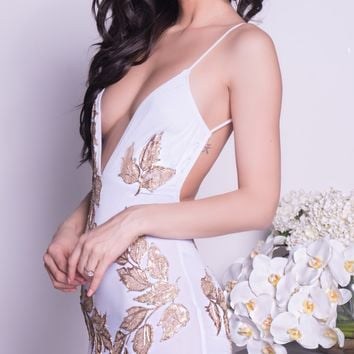 MILENA DRESS IN WHITE WITH GOLD