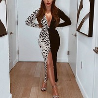 Women Sexy Long Sleeve Leopard Patchwork Deep V-Neck Dress