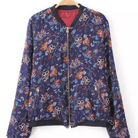 Purple Floral Print Cuff Sleeve Jacket