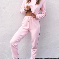 Pink Plain Drawstring Waist Hooded Two Piece Casual Long Jumpsuit