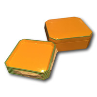 Vintage Yellow & Turquoise Lacquer Coaster Set | Collection of Six