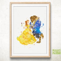 Belle, Beauty and the Beast - Watercolor, Art Print, Home Wall decor, Watercolor Print, Disney Princess Poster
