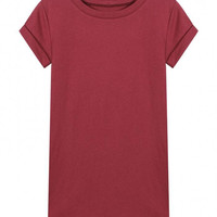 Burgundy T-shirt With Rolled Cuff Sleeve