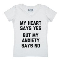 Heart Anxiety-Unisex White T-Shirt