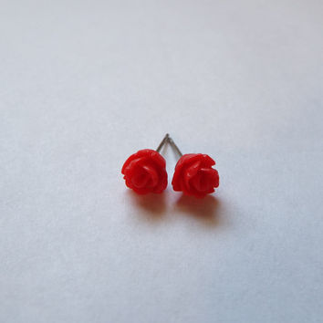 Tiny Red Rose Stud Earrings Stainless Steel Posts Small and Pretty Gift idea