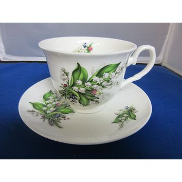 York English Bone China Lily of the Valley Teacups and Saucers Set of 2