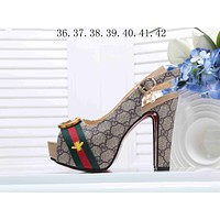 "Hot Sale ""Gucci"" Popular Ladies Princess Small Bee Embroidery High Heels High-Heeled Shoes Sandals I-KSPJ-BBDL"