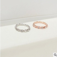 2 pcs/set(gold/silver) womens Korean Bright Silver gold Plated Elastic Full Crystal Rhinestone finger Rings jewelry = 1669449988