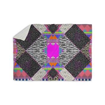 "Vasare Nar ""Zebra Native Pink"" Pink Black Tribal Pattern Sherpa Blanket"