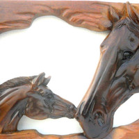 """Natural Old Teak Wood Carving Carved Horse Head Hand Carved Wall Hanging  Art Home Decor / Gift 25.5""""X11"""""""