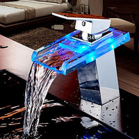 Copper Basin Faucet Led Light Thermostat Washbasin Faucet Bathroom Cabinet Bathroom Faucet Hot Cold Home