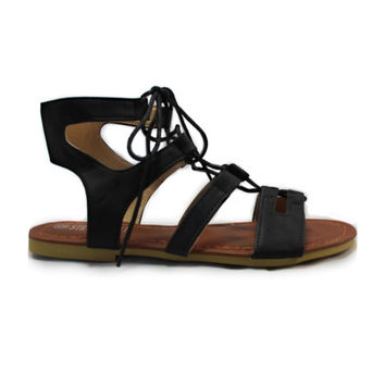 """""""Always My Style"""" Lace Up Gladiator Black Sandals"""