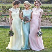 New 2016 A-line Cap Sleeves Floor Length Yellow Blue Pink Lace Long Bridesmaid Dresses Cheap Under 50 Wedding Party Dresses