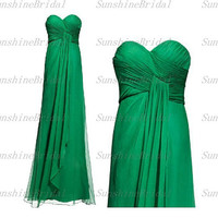 2014 New Arrival A-line Sweetheart Sleeveless Chiffon Pleat Green Long Bridesmaid Dresses Prom Dresses Evening Dresses Party Dresses