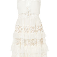 Crepe Georgette and Lace Tiered Short Dress
