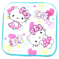 Tiny Hello Kitty and Teddy Bear Print Handkerchief Face Towel in White with Hearts