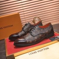 LV Louis Vuitton Men's Leather Low Top Business Shoes