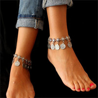 Jiayiqi Silver Color Bohemian Metal Tassel Anklet Luxury Charm Coin Ankle Bracelet For Women Jewelry Summer Style