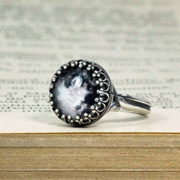 Antique Silver Crown Full Moon Ring, Adjustable Glass Dome Ring
