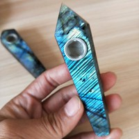 Natural Quartz Crystal labradorite Stone Pipe
