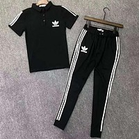 Adidas Classic Trending Men Casual Print Short Sleeve Top Tee Pants Two-Piece Set Sportswear Black
