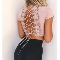 New sexy fashion back lace up type hollow show thin top White shirt