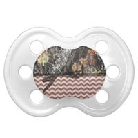 Pink/Brown Chevron and Camo Pacifier