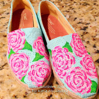 Lilly Pulitzer Inspired Hand Painted Custom Toms, Keds or Similar