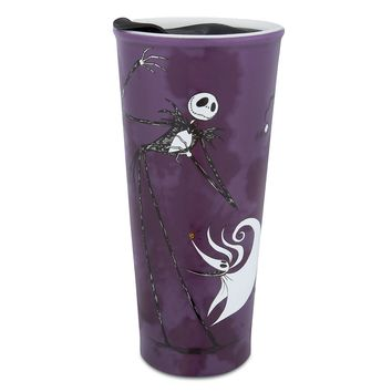 Disney Parks Jack Skellington Sandy Claws Zero Ceramic Travel Tumbler New