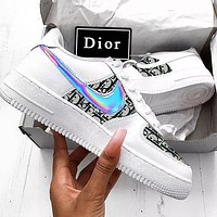 Nike Air Force 1 x Dior Man Women Print More Sneakers Women Men Trending Shoes White+Black