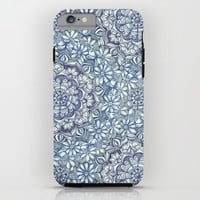 Indigo Medallion with Butterflies & Daisy Chains iPhone & iPod Case by Micklyn