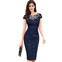 Womens Dresses Embroidery Elegant Vintage Fabric Hollow Out Embroidered Ruched Pencil Bodycon Evening Party Dress 201