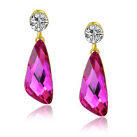 Wing Drop Swarovski Elements Crystal and Cubic Zirconia Dangle Earrings - Pink