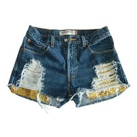 Women's Vintage Levi Distressed Ripped Shorts Gold Sequin Denim Jean