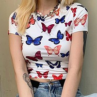 Summer Hot Sale Women Casual Personality Butterfly Print Short Sleeve T-Sleeve Crop Top
