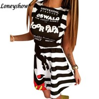 Micky  summer  women mouse pattern print dress casual o-neck sleeveless striped letters printed dresses Vestidos