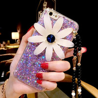 Purple Rhinestone Floral Best Protection iPhone 7 7 Plus & iPhone 6 6s Plus & iPhone 5s se Case Personal Tailor Cover + Gift Box