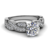 1.12ct 18kt White gold Infinity Round Diamond Engagement Ring JEWELFORME BLUE