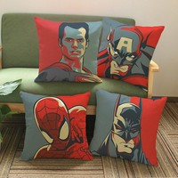 Super Heroes Avenger Printing Throw Pillows Pillowcase Cartoon Batman Superman The Hulk Home Decorative Sofa Chair Cushion